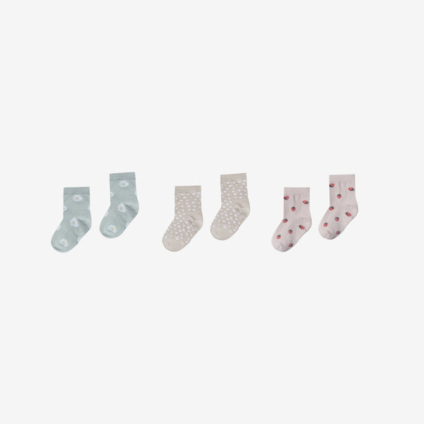 Organic Ankle Sock Set - Daisy/Dot/Strawberry