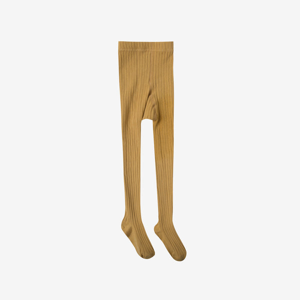 Solid Rib Cotton Tights - Marigold