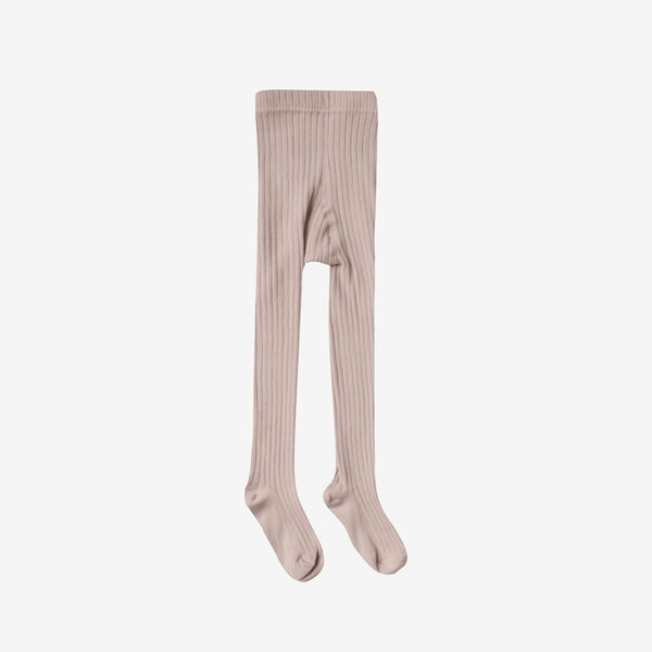 Solid Rib Cotton Tights - Petal