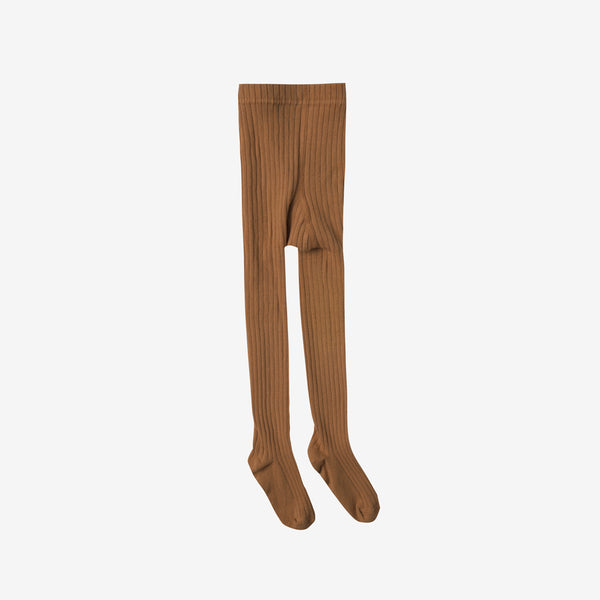 Solid Rib Cotton Tights - Saddle