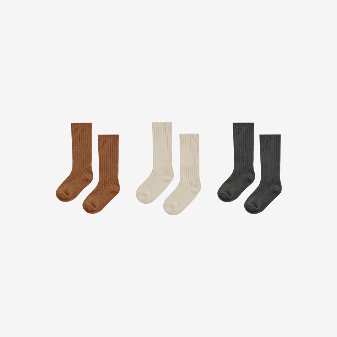 Organic Cotton Rib Knee Socks Set3 - Cinnamon/Natural/Black