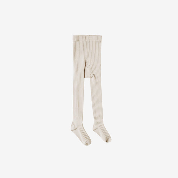 Solid Rib Cotton Tights - Natural