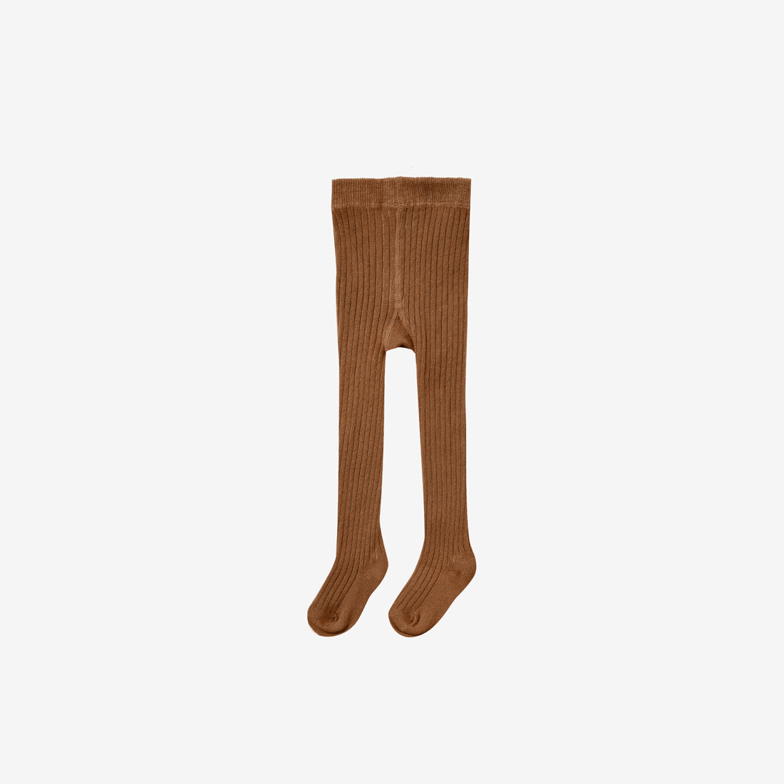 Organic Cotton Rib Tights - Cinnamon
