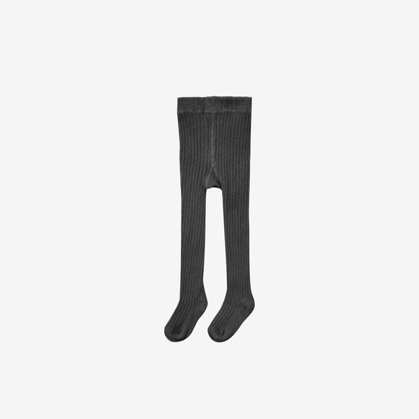 Organic Cotton Rib Tights - Vintage Black