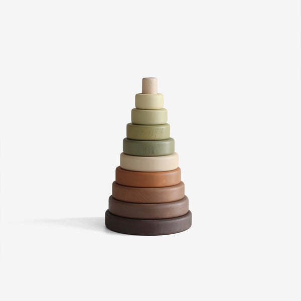 Wooden Stacking Tower - Olive