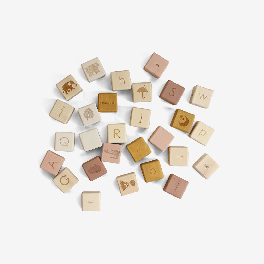 Alphabet Blocks Set - Ochre/Mauve
