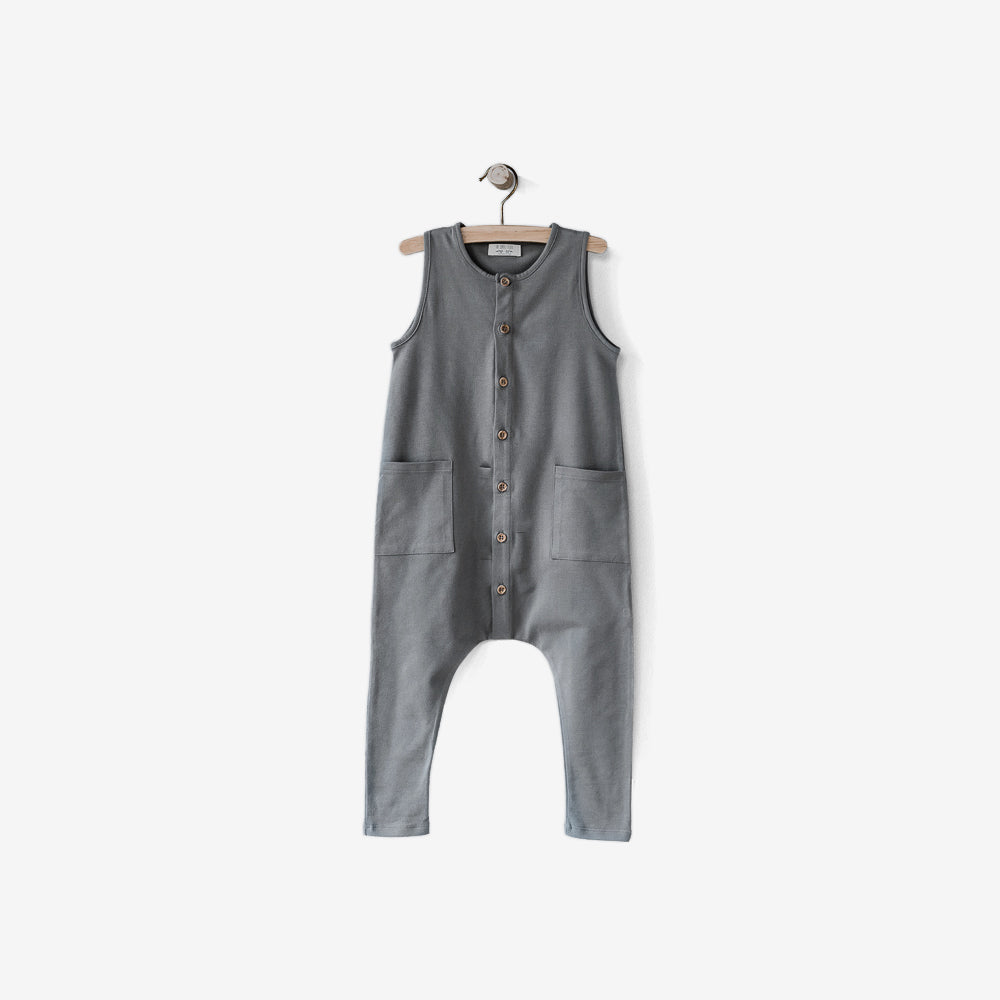 Free Range Organic Jersey Playsuit - Lead Grey