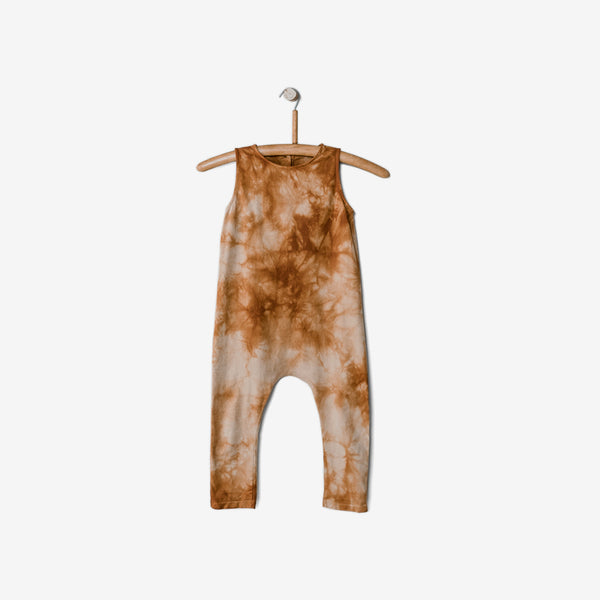 Go-To Organic Jersey Playsuit - Terracotta/Mushroom Tie-dye
