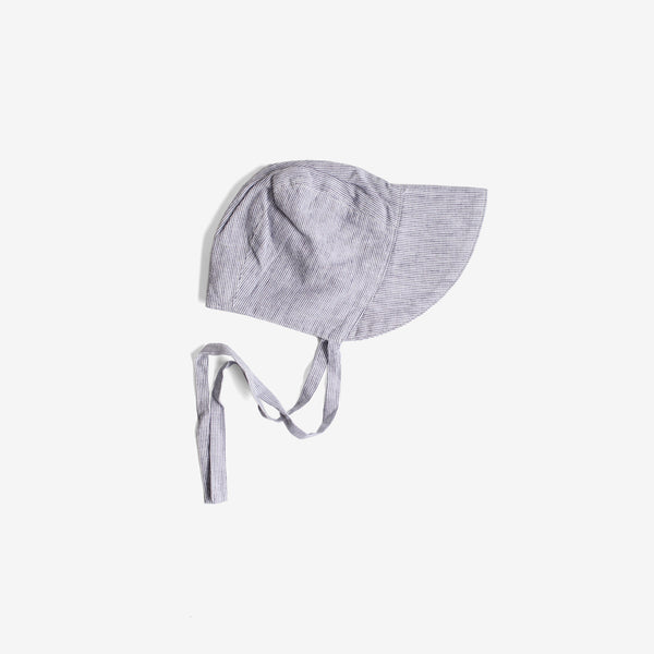 Old-Fashioned Cotton Linen Brimmed Bonnet - French Stripe