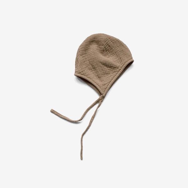 The Garden Cotton Muslin Bonnet Cap - Camel