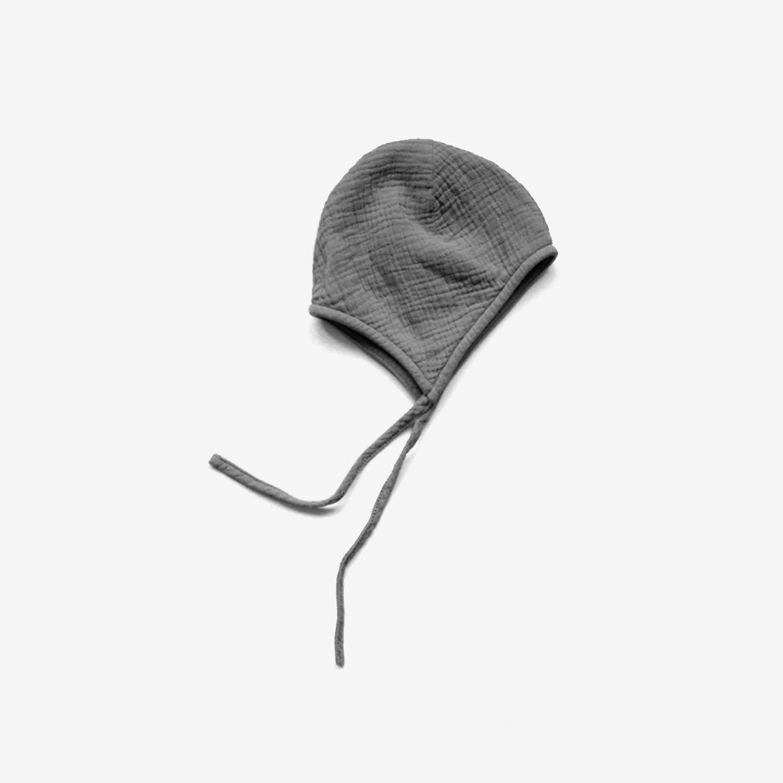 The Garden Cotton Muslin Bonnet Cap - Lead Grey