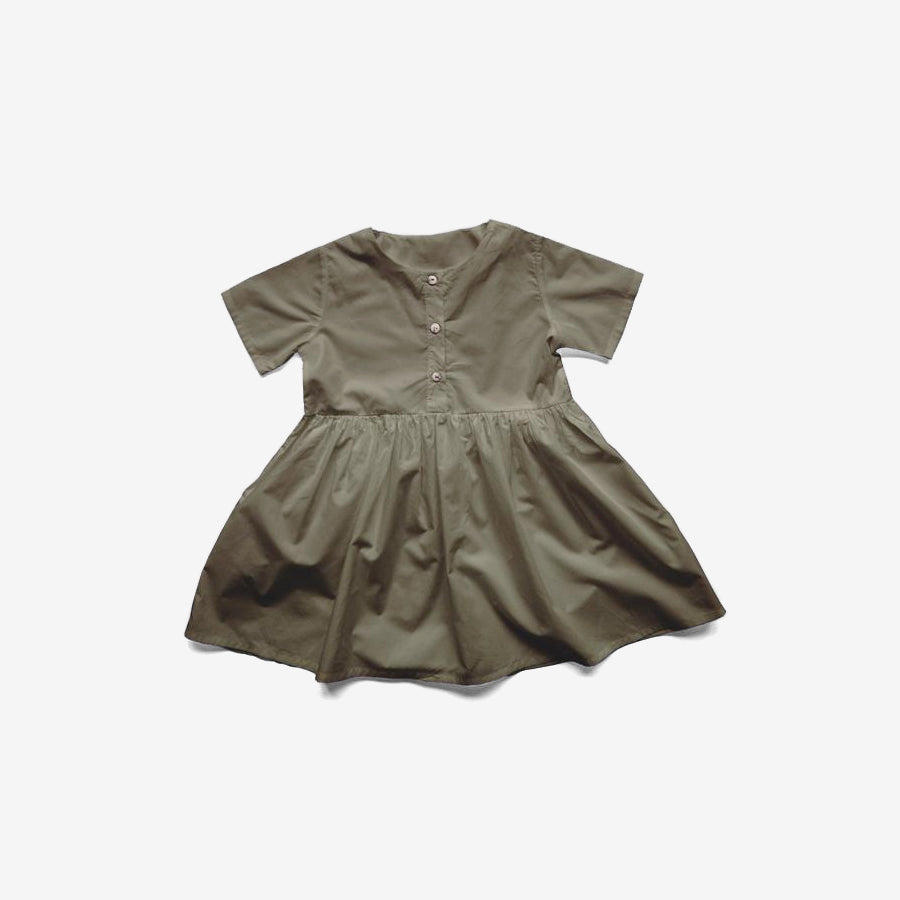 Cotton Woven Simple Folk Dress - Olive