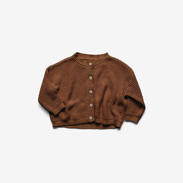 Organic Cotton Knit Chunky Cardigan - Rust