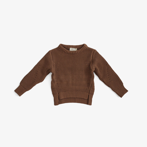 Organic Cotton Knit Essential Sweater - Mocha