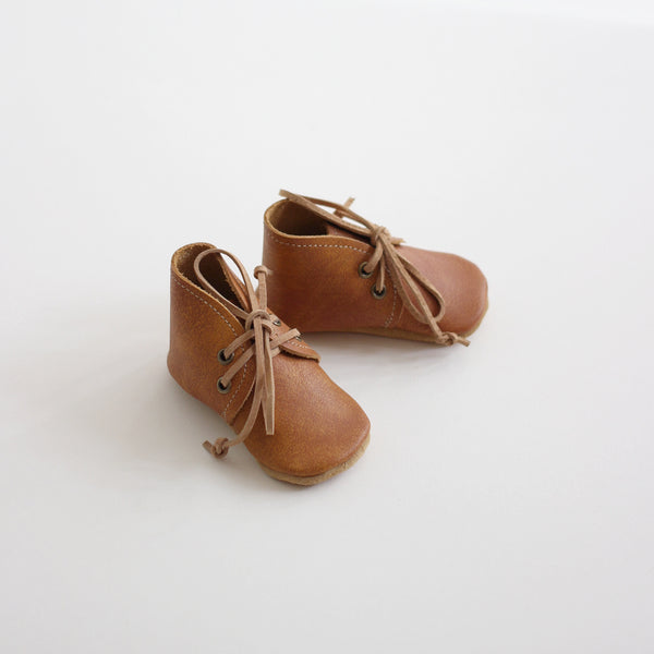 Soft-sole Leather Desert Baby Boots - Apricot