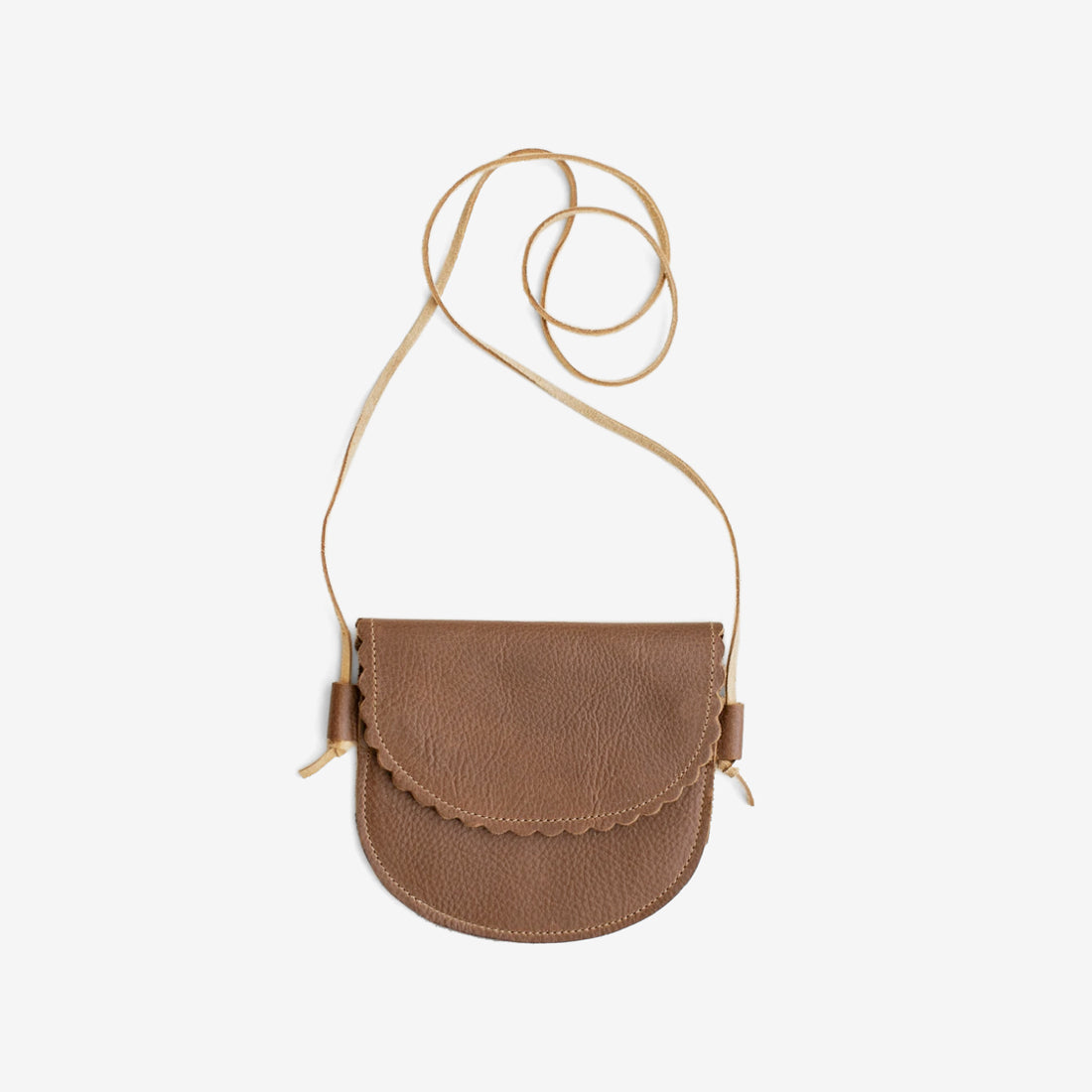 Scallop Edge Little Leather Purse - Brown