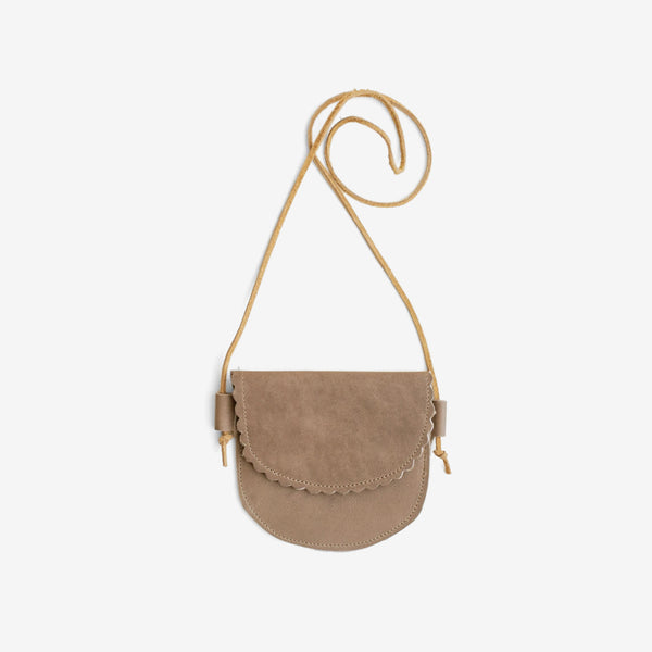 Scallop Edge Little Leather Purse - Taupe