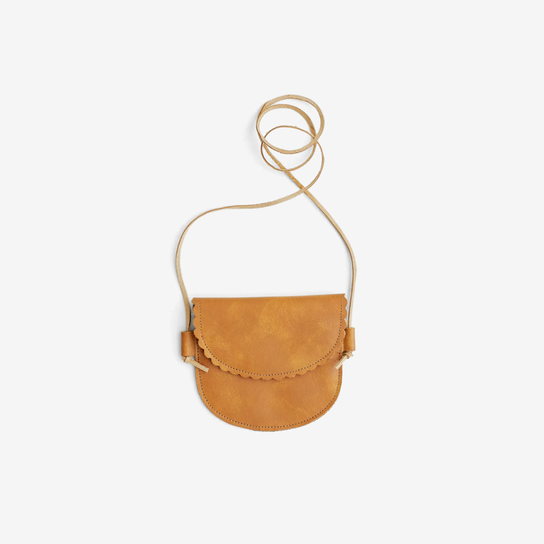 Scallop Edge Little Leather Purse - Apricot