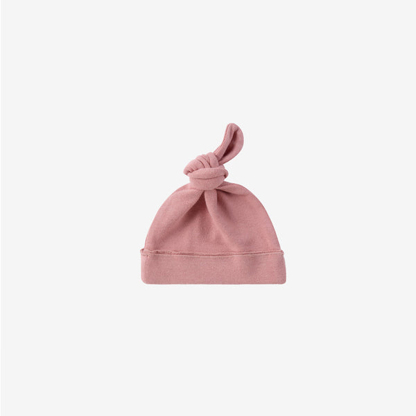 Organic Cotton Knotted Baby Hat - Pink Clay