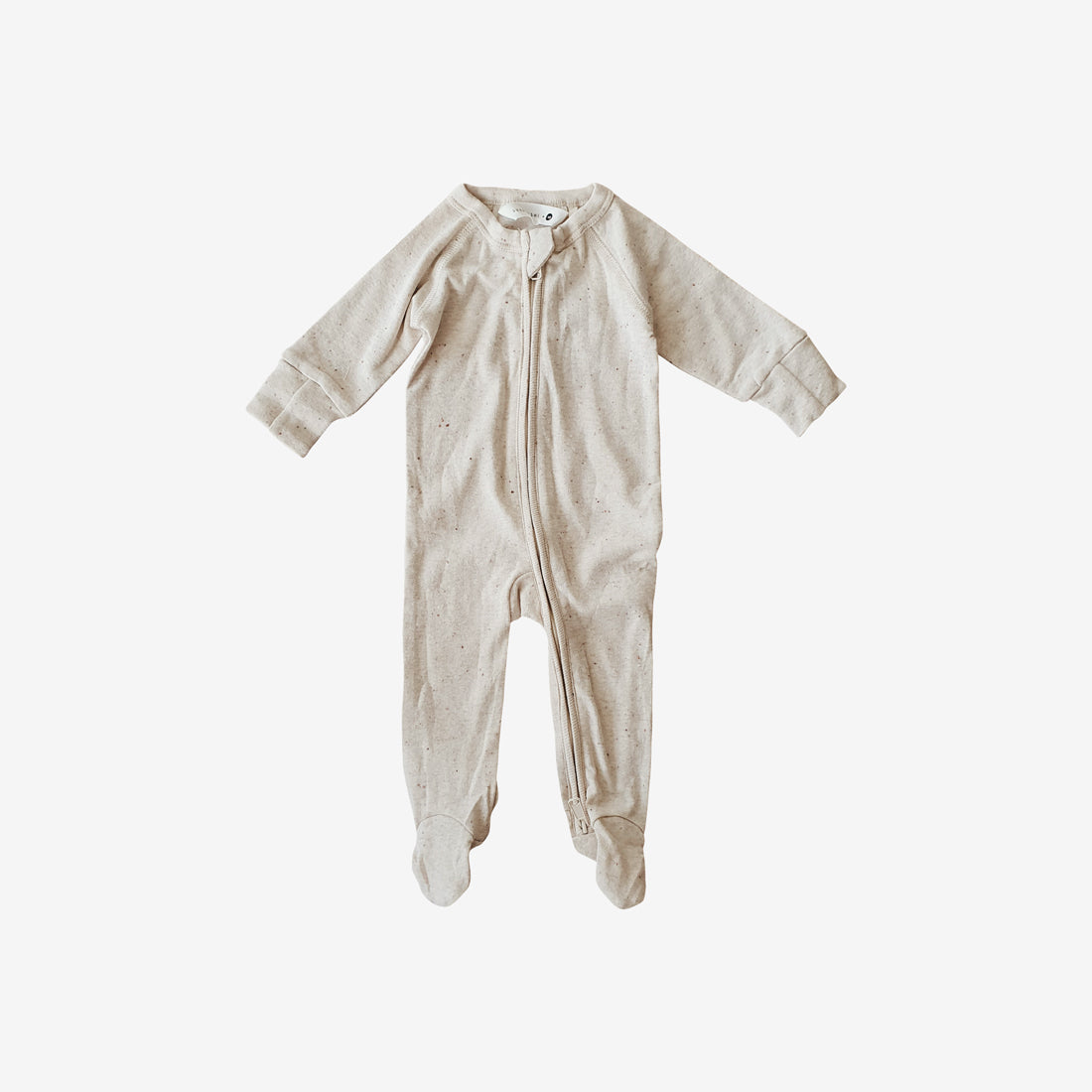 Organic Cotton Footed Zip Growsuit - Cotton Speckled