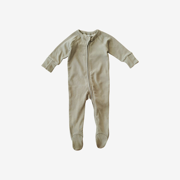 Organic Cotton Footed Zip Growsuit - Sage