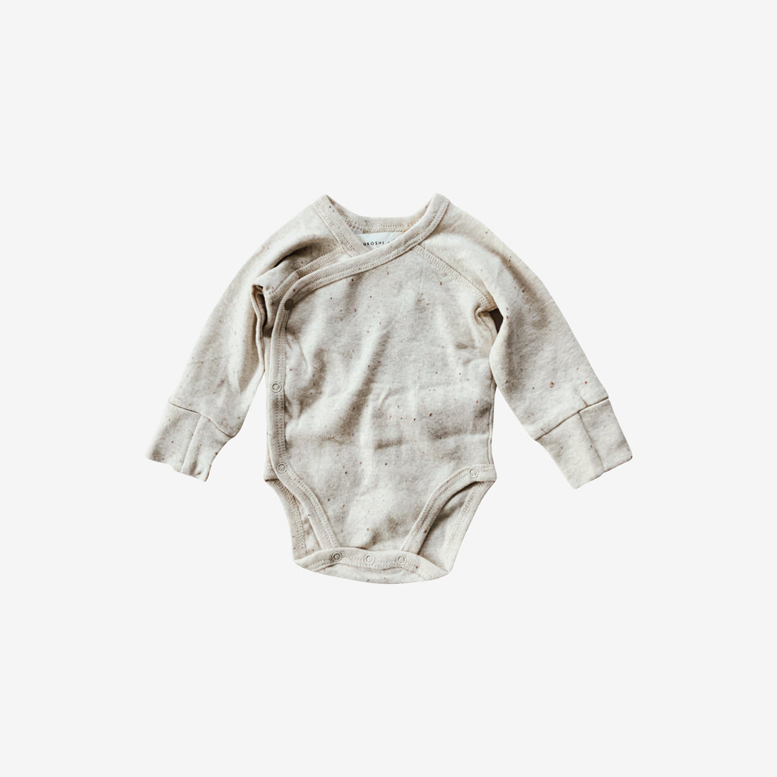 Organic Cotton L/S Kimono Bodysuit - Cotton Speckled
