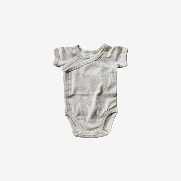 Organic Cotton S/S Kimono Bodysuit - Cotton Speckled