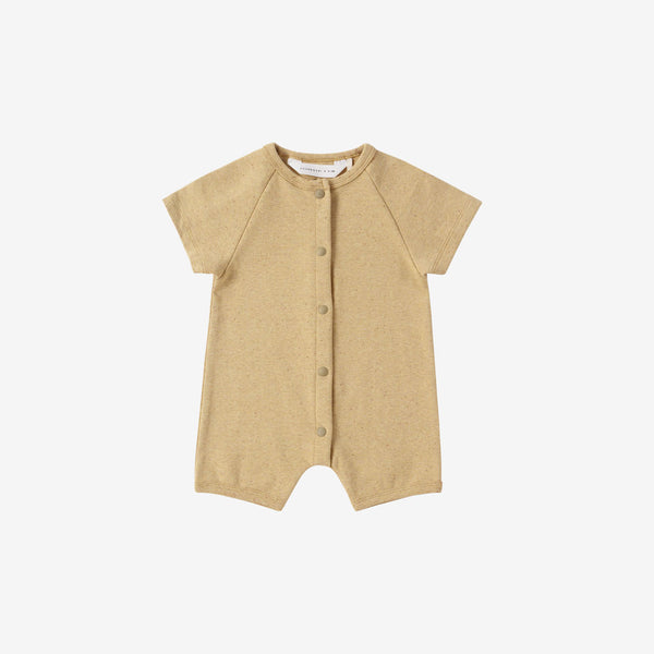 Organic Cotton S/S Snap Romper - Ginger Speckled