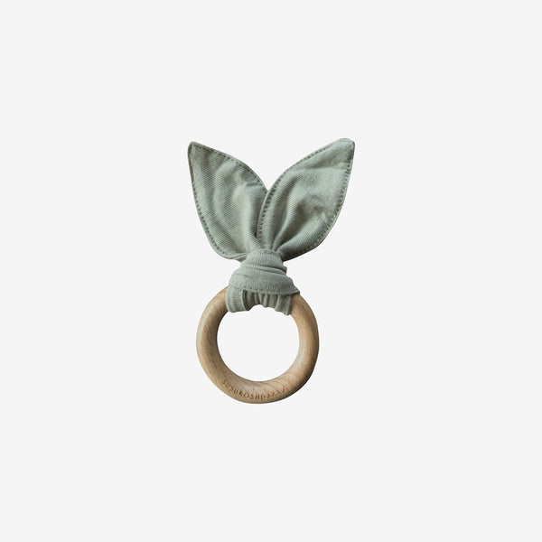 Organic Cotton & Wood Ring Baby Bunny Toy - Artichoke