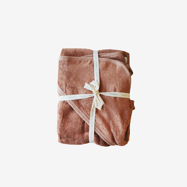 Bamboo Terry Hooded Towel - Terracotta