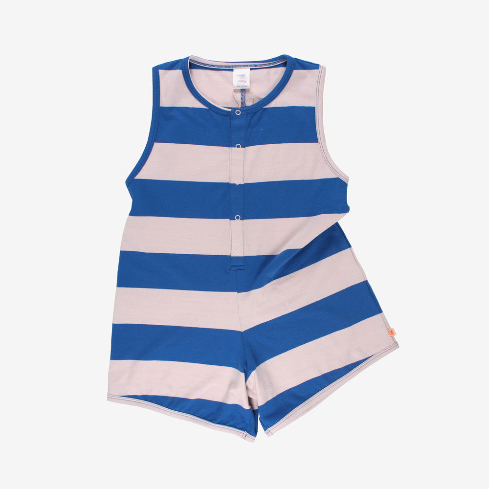 Big Stripes Sleeveless Romper - Blue