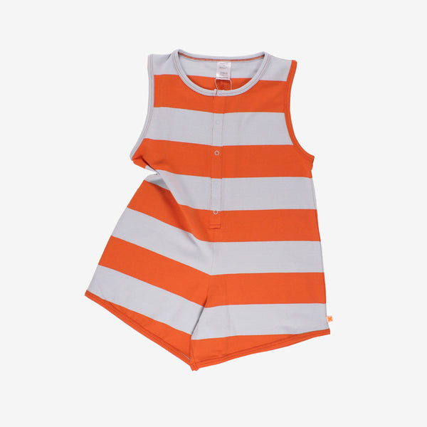 Big Stripes Sleeveless Romper - red