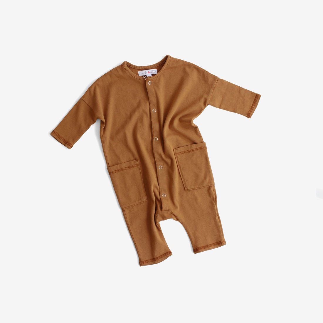 Jersey Jumpsuit with Pockets - Rust