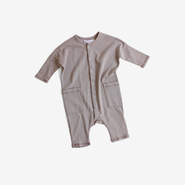 Jersey Jumpsuit with Pockets - Taupe