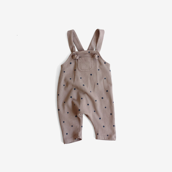 Knotted Strap Terry Overalls - Taupe Dot