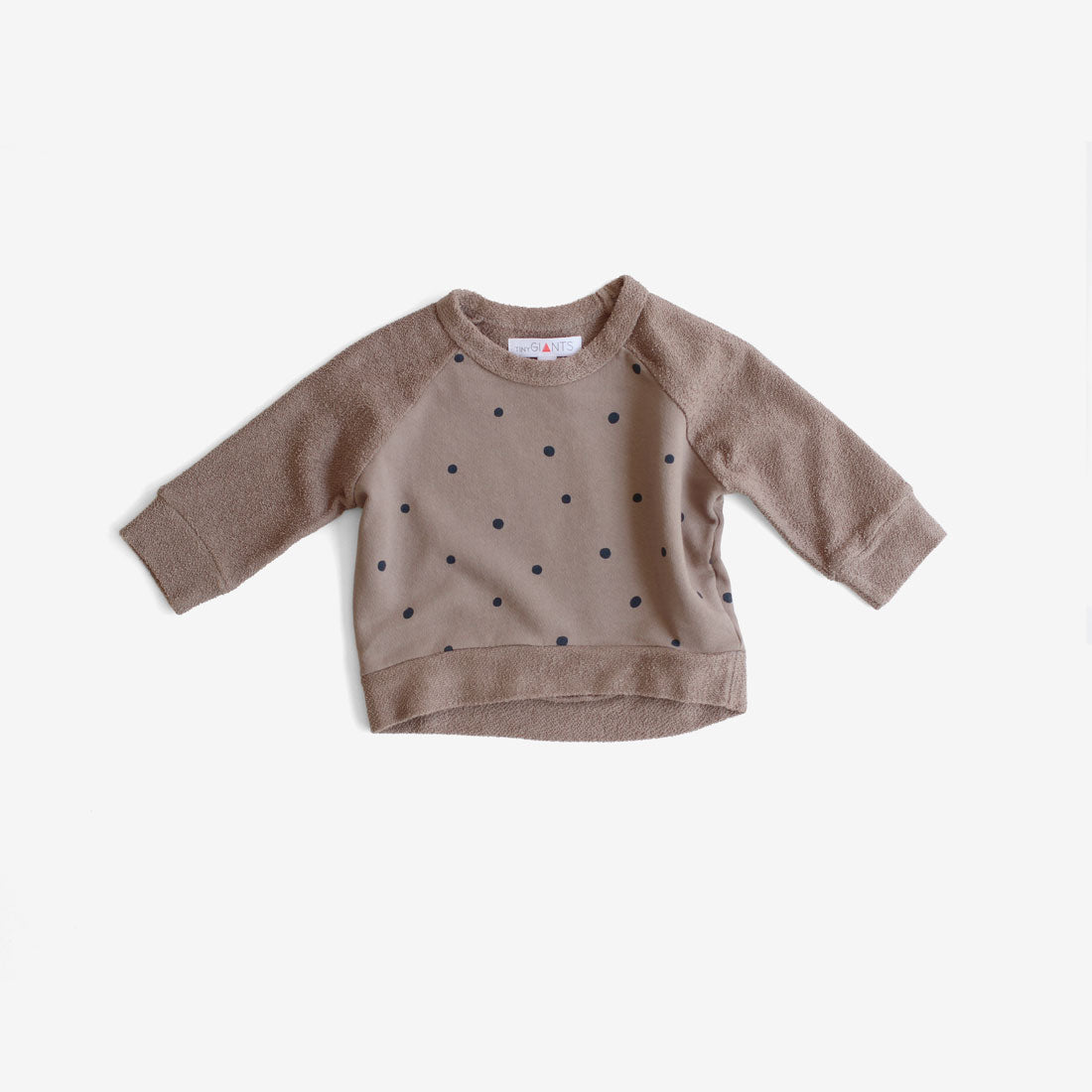 Polka Dot French Terry Sweatshirt - Taupe