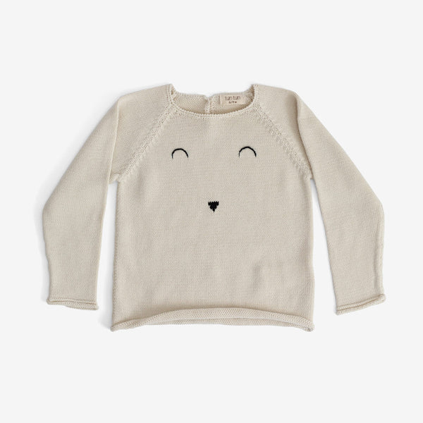 Pima Bunny Face Sweater - Cream