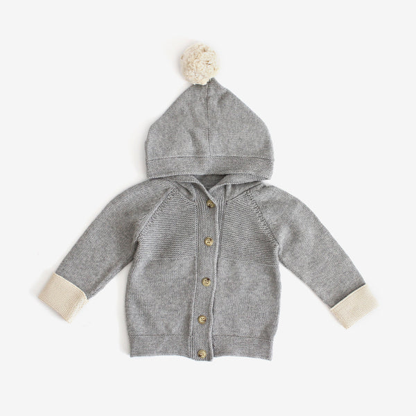 Pima Knit Hooded Cardi