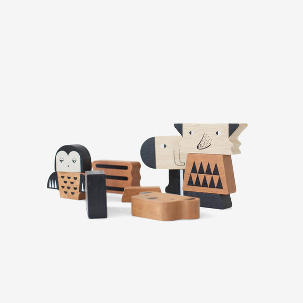 Mix & Match Wooden Animal Tower