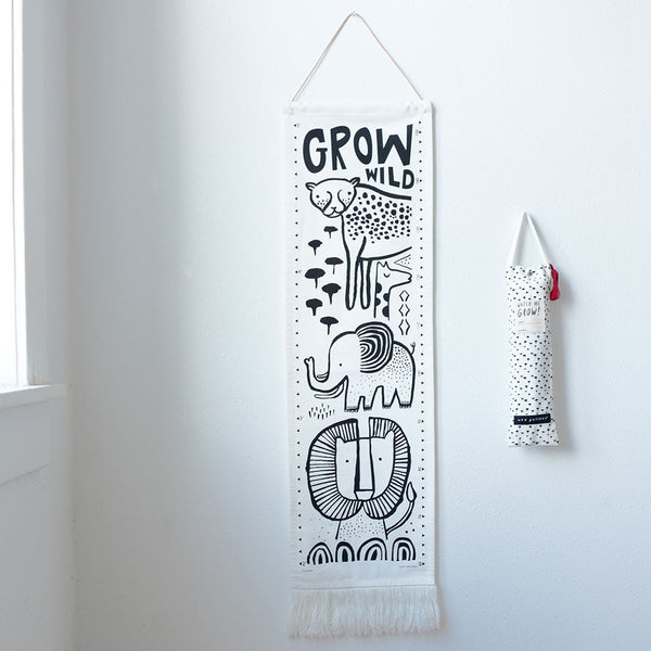 Grow Wild Organic Canvas Growth Chart - Safari