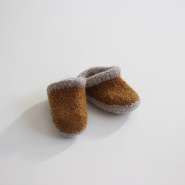 Kid's Wool Felt Slippers - Amber