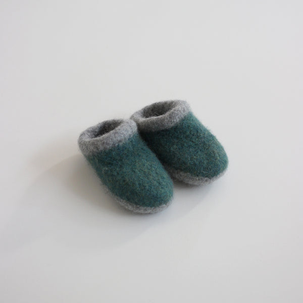 Kid's Wool Felt Slippers - Spruce
