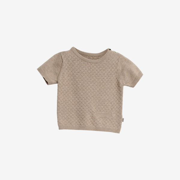 Benni Organic Knit S/S Sweater Top - Sand