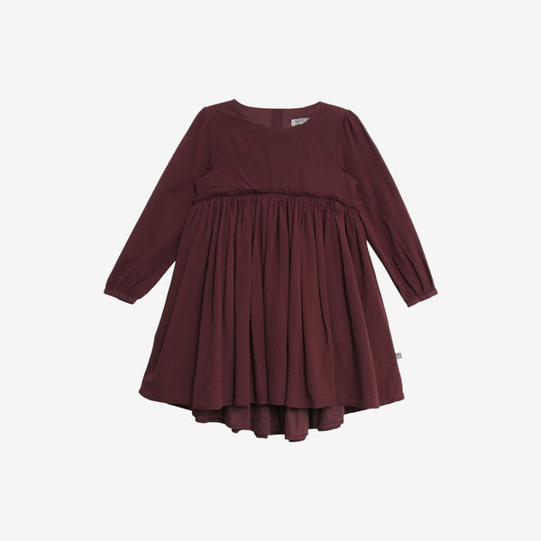Magda Organic Woven Dress - Soft Eggplant