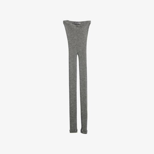 Merino Wool Rib Leggings - Grey Heather