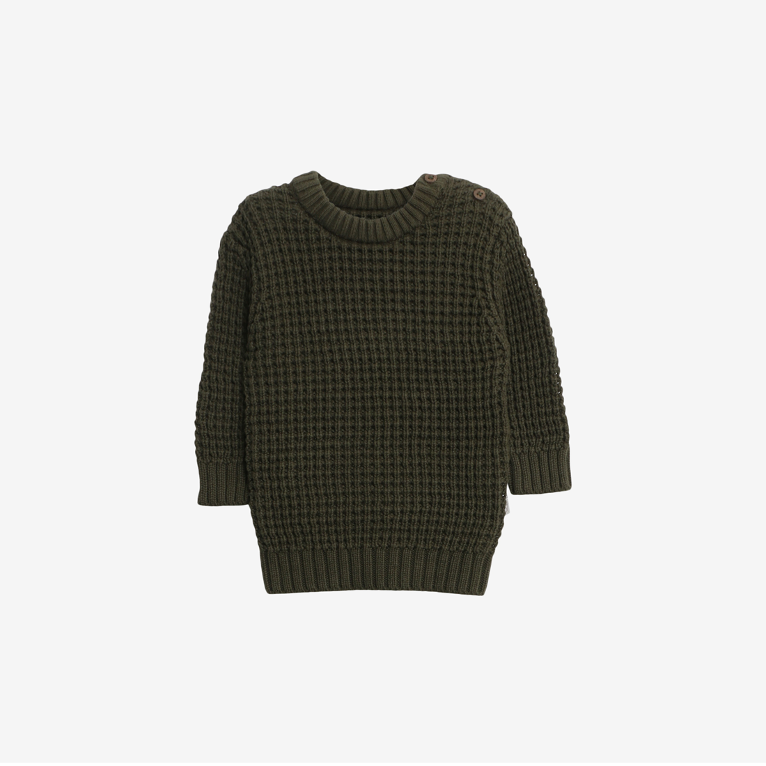 Organic Cotton Rib Knit Pullover Charlie - Dark Army