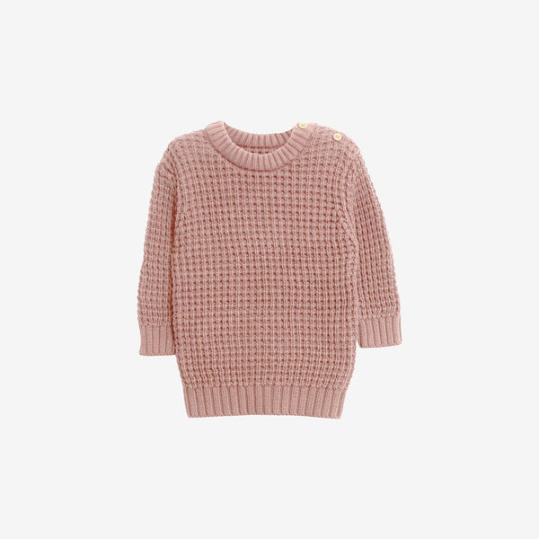 Organic Cotton Knit Pullover Charlie - Misty Rose