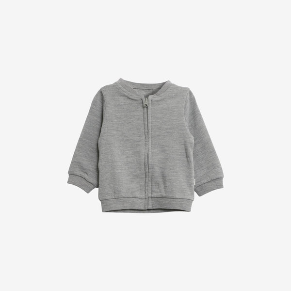 Organic Cotton & Merino Wool Baby Cardigan - Grey Heather