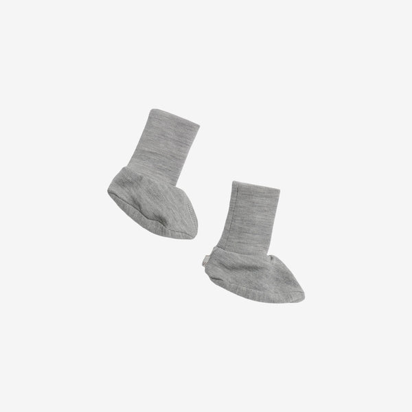 Organic Cotton & Merino Wool Booties - Grey Heather