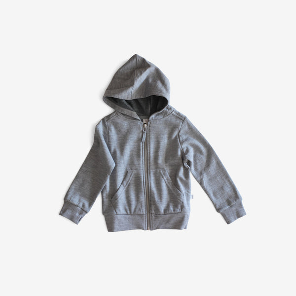 Organic Cotton & Merino Wool Cardigan Hoodie - Grey Heather
